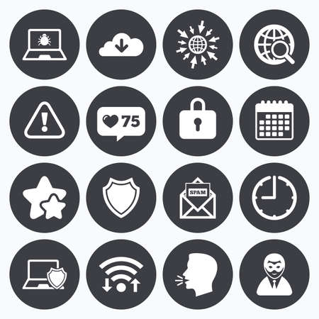 breakin: Calendar, wifi and clock symbols. Like counter, stars symbols. Internet privacy icons. Cyber crime signs. Virus, spam e-mail and anonymous user symbols. Talking head, go to web symbols. Vector