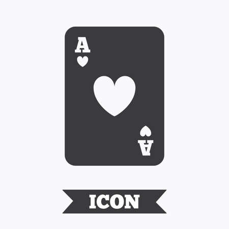 ace of hearts: Casino sign icon. Playing card symbol. Ace of hearts. Graphic design element. Flat playing card symbol on white background. Vector Illustration