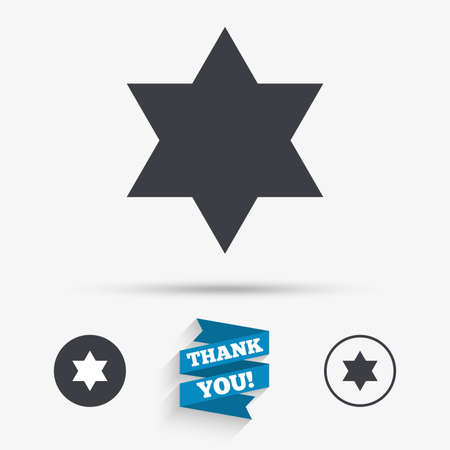 shield of david: Star of David sign icon. Symbol of Israel. Jewish hexagram symbol. Shield of David. Flat icons. Buttons with icons. Thank you ribbon. Vector