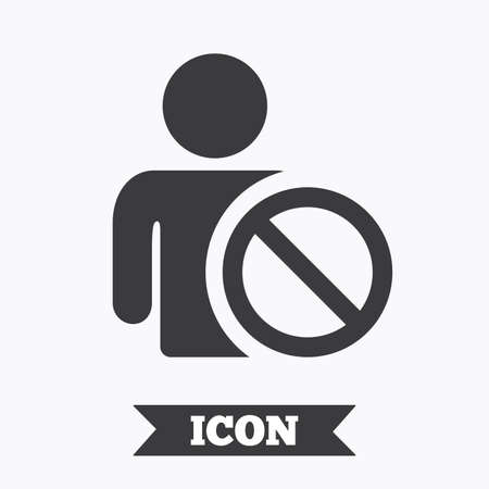 Blacklist sign icon. User not allowed symbol. Graphic design element. Flat blacklist symbol on white background. Vector