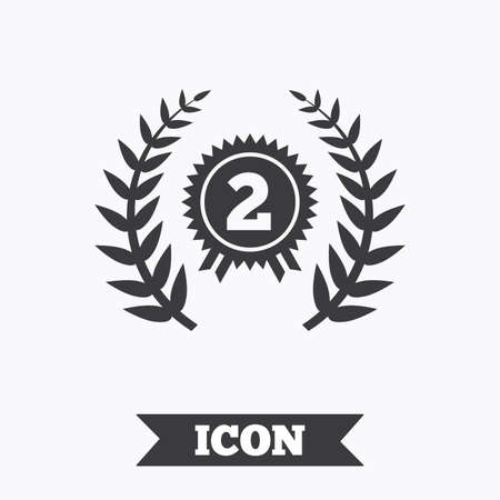 badge with ribbon: Second place award sign icon. Prize for winner symbol. Laurel Wreath. Graphic design element. Flat award symbol on white background. Vector