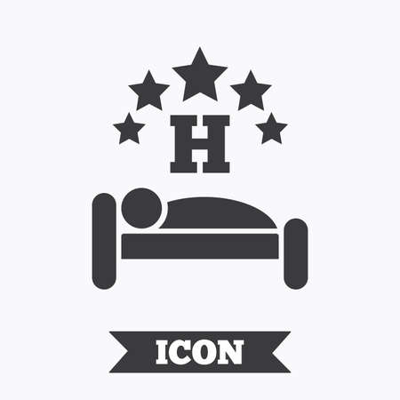 sleeper: Five star Hotel apartment sign icon. Travel rest place. Sleeper symbol. Graphic design element. Flat hotel symbol on white background. Vector