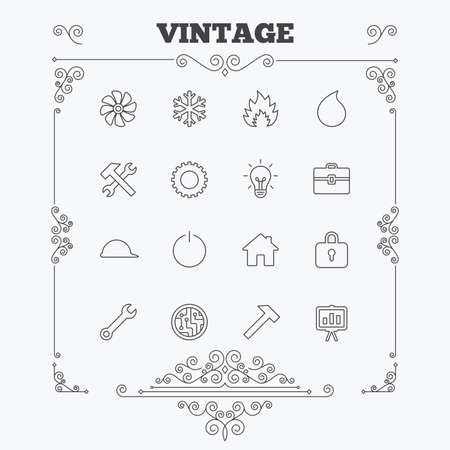lamp outline: Engineering icons. Ventilation, heat and air conditioning symbols. Water supply, repair service and circuit board thin outline signs. Lamp, house and locker. Vintage ornament patterns. Decoration design elements. Vector