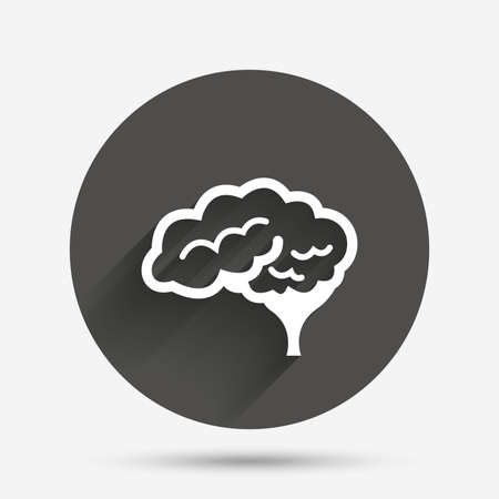 cerebellum: Brain with cerebellum sign icon. Human intelligent smart mind. Circle flat button with shadow. Vector Illustration