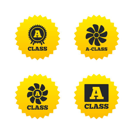 ventilation: A-class award icon. A-class ventilation sign. Premium level symbols. Yellow stars labels with flat icons. Vector