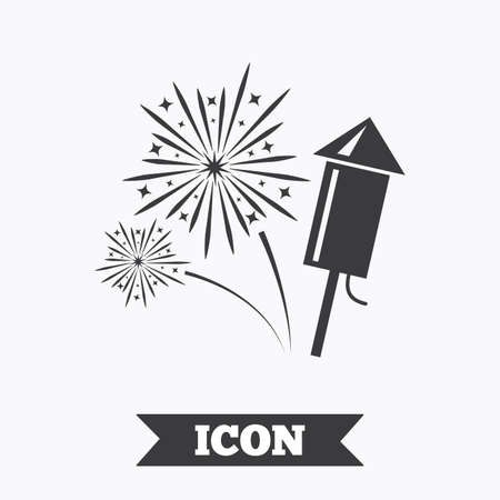 pyrotechnic: Fireworks with rocket sign icon. Explosive pyrotechnic symbol. Graphic design element. Flat fireworks symbol on white background. Vector