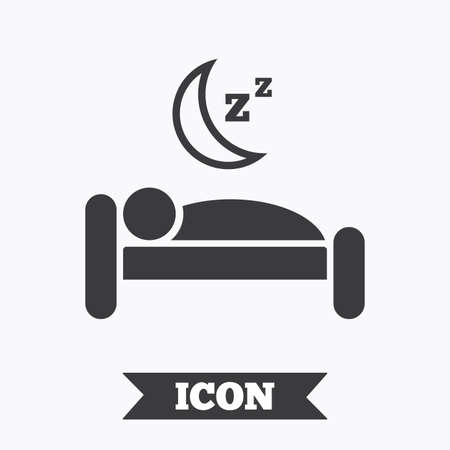 sleeper: Hotel apartment sign icon. Travel rest place. Sleeper symbol. Graphic design element. Flat hotel symbol on white background. Vector