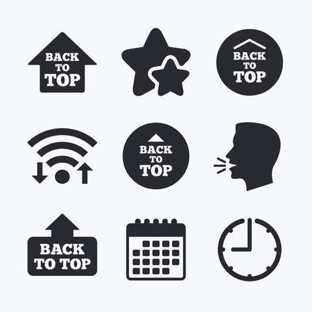 scroll up: Back to top icons. Scroll up with arrow sign symbols. Wifi internet, favorite stars, calendar and clock. Talking head. Vector