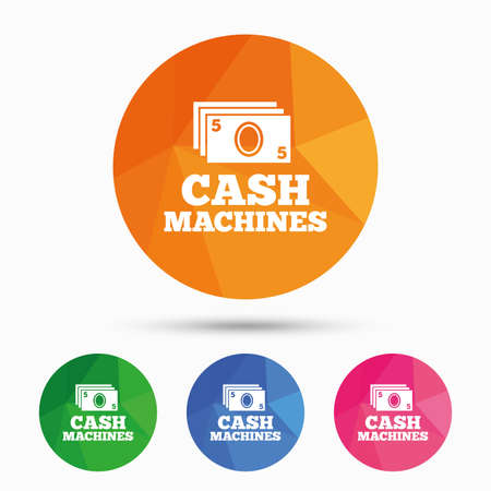 withdrawals: Cash machines or ATM sign icon. Paper money symbol. Withdrawal of money. Triangular low poly button with flat icon. Vector