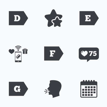 energy classification: Energy efficiency class icons. Energy consumption sign symbols. Class D, E, F and G. Flat talking head, calendar icons. Stars, like counter icons. Vector