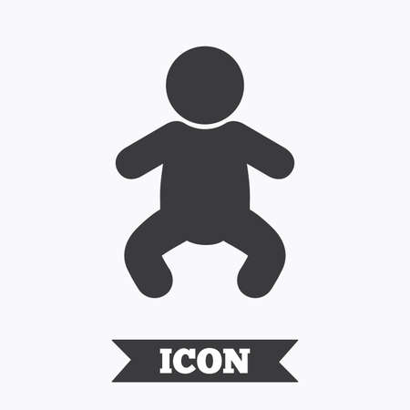 crawlers: Baby infant sign icon. Toddler boy in pajamas or crawlers body symbol. Child WC toilet. Graphic design element. Flat baby infant symbol on white background. Vector Illustration
