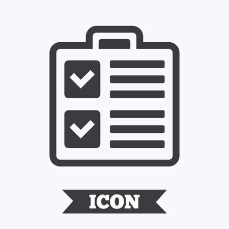 poll: Checklist sign icon. Control list symbol. Survey poll or questionnaire form. Graphic design element. Flat checklist symbol on white background. Vector