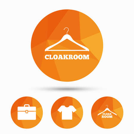 cloakroom: Cloakroom icons. Hanger wardrobe signs. T-shirt clothes and baggage symbols. Triangular low poly buttons with shadow. Vector