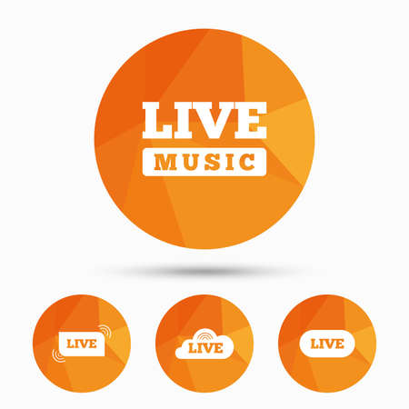 live stream music: Live music icons. Karaoke or On air stream symbols. Cloud sign. Triangular low poly buttons with shadow. Vector