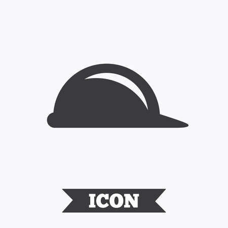 hard hat icon: Hard hat sign icon. Construction helmet symbol. Graphic design element. Flat helmet symbol on white background. Vector