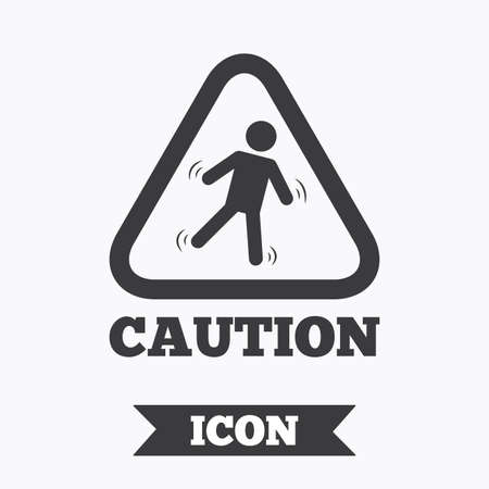 slippery: Caution wet floor sign icon. Human falling triangle symbol. Graphic design element. Flat slippery floor symbol on white background. Vector
