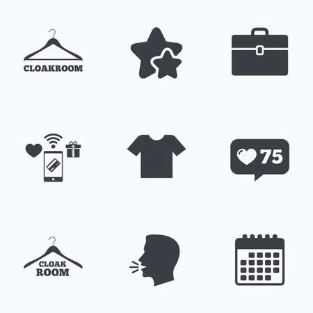 cloakroom: Cloakroom icons. Hanger wardrobe signs. T-shirt clothes and baggage symbols. Flat talking head, calendar icons. Stars, like counter icons. Vector