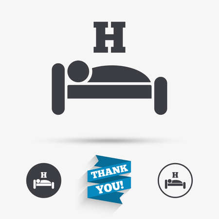 sleeper: Hotel apartment sign icon. Travel rest place. Sleeper symbol. Flat icons. Buttons with icons. Thank you ribbon. Vector