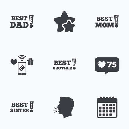 Best Mom And Dad Brother And Sister Icons Award With Exclamation