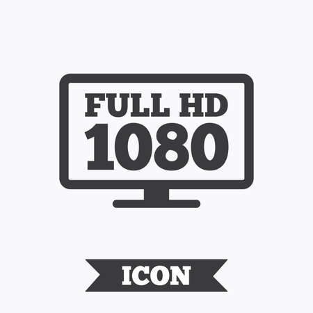 full hd: Full hd widescreen tv sign icon. 1080p symbol. Graphic design element. Flat full hd symbol on white background. Vector
