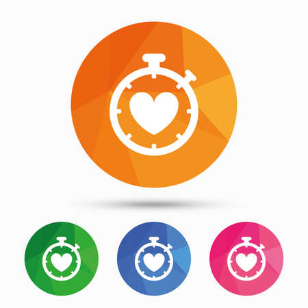 palpitation: Heart Timer sign icon. Stopwatch symbol. Heartbeat palpitation. Triangular low poly button with flat icon. Vector