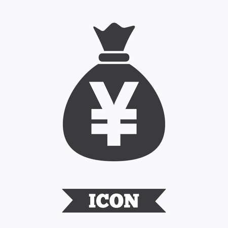 Money bag sign icon. Yen JPY currency symbol. Graphic design element. Flat money bag symbol on white background. Vector