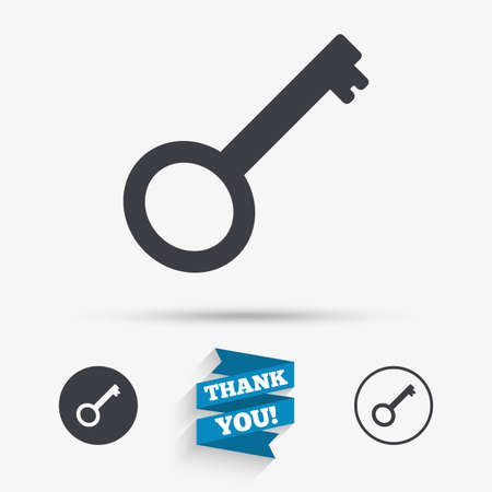 tool unlock: Key sign icon. Unlock tool symbol. Flat icons. Buttons with icons. Thank you ribbon. Vector