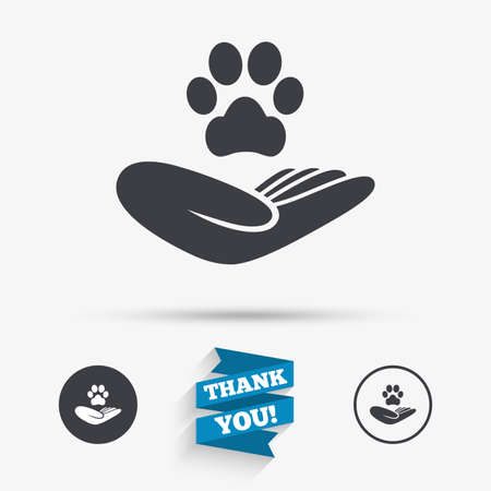 animal shelter: Shelter pets sign icon. Hand holds paw symbol. Animal protection. Flat icons. Buttons with icons. Thank you ribbon. Vector Illustration