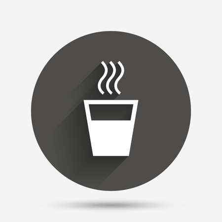 evaporation: Hot water sign icon. Hot drink glass symbol. Circle flat button with shadow. Vector