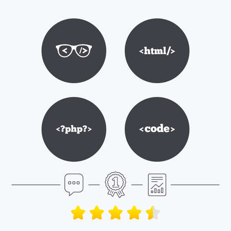 coder: Programmer coder glasses icon. HTML markup language and PHP programming language sign symbols. Chat, award medal and report linear icons. Star vote ranking. Vector