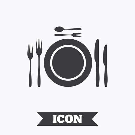 teaspoon: Plate dish with forks and knifes. Dessert trident fork with teaspoon. Eat sign icon. Cutlery etiquette rules symbol. Graphic design element. Flat cutlery symbol on white background. Vector