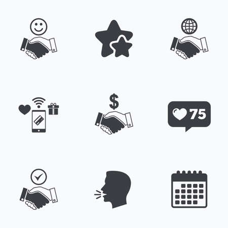 amicable: Handshake icons. World, Smile happy face and house building symbol. Dollar cash money. Amicable agreement. Flat talking head, calendar icons. Stars, like counter icons. Vector