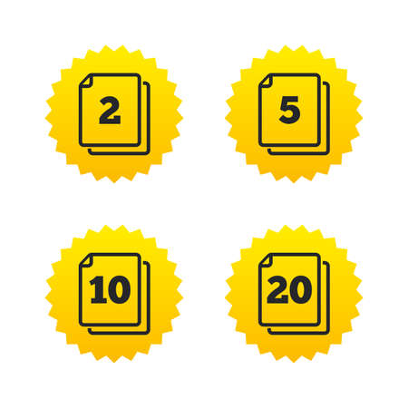2 5: In pack sheets icons. Quantity per package symbols. 2, 5, 10 and 20 paper units in the pack signs. Yellow stars labels with flat icons. Vector