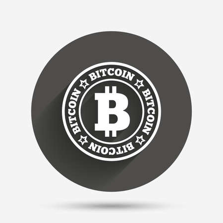 cryptography: Bitcoin sign icon. Cryptography currency symbol. P2P. Circle flat button with shadow. Vector