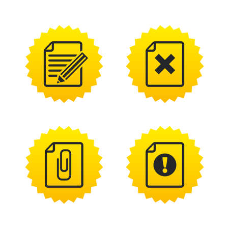 yellow attention: File attention icons. Document delete and pencil edit symbols. Paper clip attach sign. Yellow stars labels with flat icons. Vector Illustration