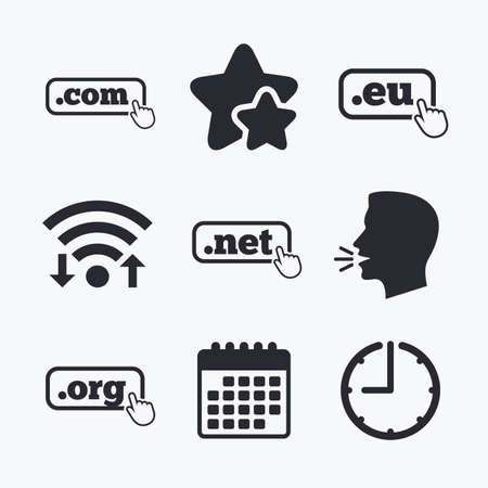 dns: Top-level internet domain icons. Com, Eu, Net and Org symbols with hand pointer. Unique DNS names. Wifi internet, favorite stars, calendar and clock. Talking head. Vector