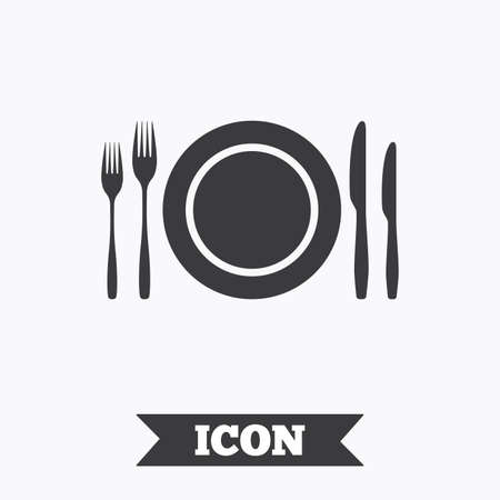 etiquette: Plate dish with forks and knifes. Eat sign icon. Cutlery etiquette rules symbol. Graphic design element. Flat cutlery symbol on white background. Vector