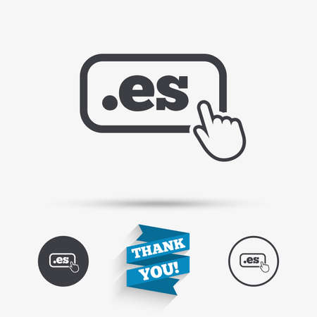 es: Domain ES sign icon. Top-level internet domain symbol with hand pointer. Flat icons. Buttons with icons. Thank you ribbon. Vector