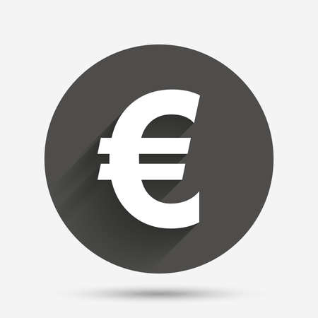 eur: Euro sign icon. EUR currency symbol. Money label. Circle flat button with shadow. Vector