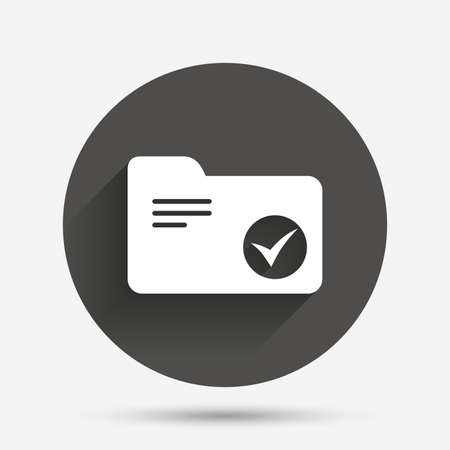 bookkeeping: Select document folder sign. Accounting binder symbol. Bookkeeping management. Circle flat button with shadow. Vector Illustration
