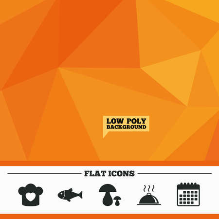 boletus: Triangular low poly orange background. Chief hat with heart and cooking pan icons. Fish and boletus mushrooms signs. Hot food platter serving symbol. Calendar flat icon. Vector