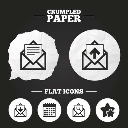 outbox: Crumpled paper speech bubble. Mail envelope icons. Find message document symbol. Post office letter signs. Inbox and outbox message icons. Paper button. Vector Illustration