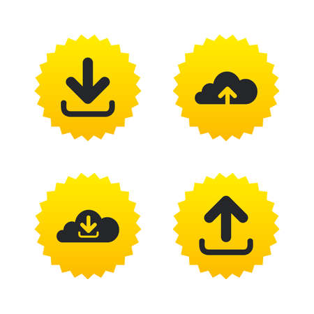 Download now icon. Upload from cloud symbols. Receive data from a remote storage signs. Yellow stars labels with flat icons. Vector Illustration