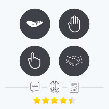 vote here: Hand icons. Handshake successful business symbol. Click here press sign. Human helping donation hand. Chat, award medal and report linear icons. Star vote ranking. Vector Illustration