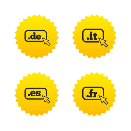 vector es: Top-level internet domain icons. De, It, Es and Fr symbols with cursor pointer. Unique national DNS names. Yellow stars labels with flat icons. Vector