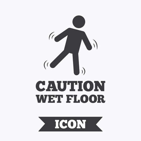 wet floor sign: Caution wet floor sign icon. Human falling symbol. Graphic design element. Flat wet floor symbol on white background. Vector Illustration