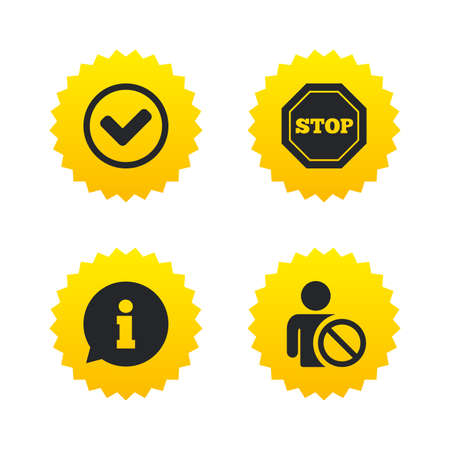blacklist: Information icons. Stop prohibition and user blacklist signs. Approved check mark symbol. Yellow stars labels with flat icons. Vector
