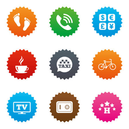 Hotel, apartment services icons. Coffee sign. Phone call, kid-friendly and safe strongbox symbols. Stars label button with flat icons. Vector Illustration