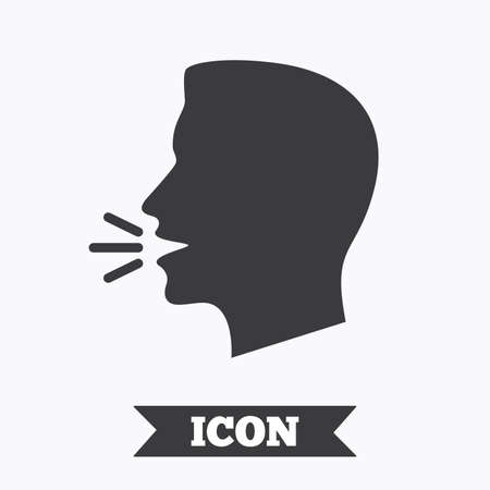 loud noise: Talk or speak icon. Loud noise symbol. Human talking sign. Graphic design element. Flat speak symbol on white background. Vector