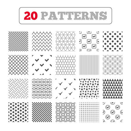 confirm: Ornament patterns, diagonal stripes and stars. Check icons. Checkbox confirm circle sign symbols. Geometric textures. Vector